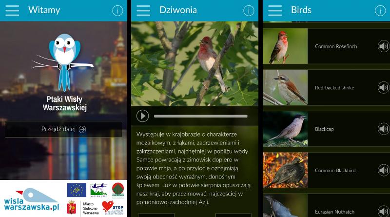 Ptaki Wisły Warszawskiej - aplikacja