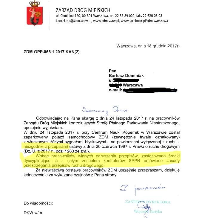 ZDM Warszawa, pismo